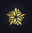 gold leaf decoration ecology logo vector image vector image