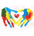 Heart in hands print vector image