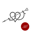 heart with arrow tattoo style linear logo vector image vector image