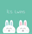 its twins two cute twin bunny rabbit hare head vector image