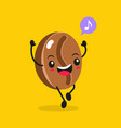 kawaii food cartoon coffee bean happy vector image
