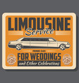 limousine wedding auto rental service vector image vector image