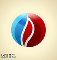 logo symbol fire Red and blue Round glass icon vector image vector image