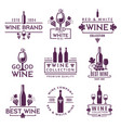 logotypes or badges wine brands vector image vector image