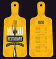 menu in the form of cutting board with fork vector image vector image