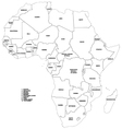 Outline map of the countries of Africa vector image vector image