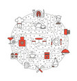 restaurant service concept flat line art vector image
