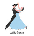 romantic couple dancing classic waltz flat vector image