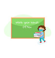 school student in medical mask carry books vector image