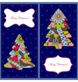 Set of christmas cards with trees vector image
