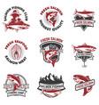 Set salmon fishing emblems design elements