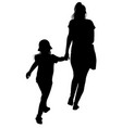 silhouette of a mother with her daughter vector image
