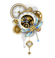 steampunk dragonfly with clock vector image