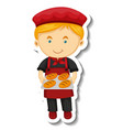 sticker template with a baker boy holds baked vector image