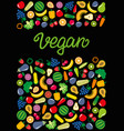 vegetables and fruits icons rectangle frame vector image vector image