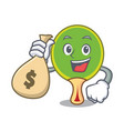 with money bag ping pong racket character cartoon vector image vector image