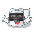 with virtual reality tissue character cartoon vector image vector image