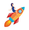 woman flying in rocket start up vector image vector image
