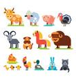 farm animals set domestic farming vector image
