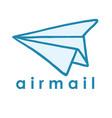 airmail paper plane logo design vector image vector image
