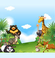 background scene with wild animals in the field vector image vector image