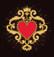 beautiful ornamental red heart with crown on black vector image vector image