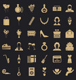 birthday party icons set simple style vector image vector image