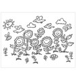black and white cartoon sunflowers birds vector image vector image