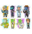 cartoon soldier scientist with mask character set vector image vector image