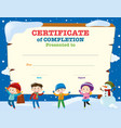 certificate template with kids in the snow vector image vector image