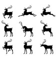 christmas deer silhouette set vector image vector image