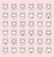 cute rabbit emotion face in various expession vector image