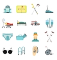 Disabled people care icons set flat style vector image vector image