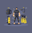 diver in wetsuit and diving equipment vector image vector image