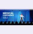 female doctor giving speech on medical conference vector image vector image