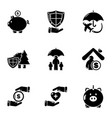 financial system icons set simple style vector image vector image