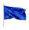 flag european union in wind on flagpole isolated vector image