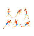 flat set with energetic man and woman in vector image vector image