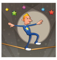 Funny equilibrist is walking on the tightrope vector image