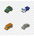 isometric car set of armored lorry auto and vector image vector image