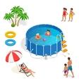 isometric portable plastic swimming pool vector image