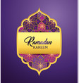 label with moon and stars to ramadan kareem vector image