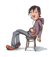lazy boy sitting in chair vector image vector image