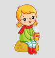 little cute girl sits on a stone and drinks vector image