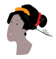 madam butterfly silhouette colored vector image