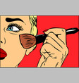 make-up brush in hand pop art retro vector image vector image