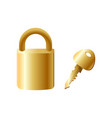modern gold metal safe lock with key house vector image vector image