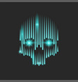 neon bright human skull with blue sparks in the vector image vector image