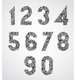 Old style numbers with hand drawn curly lines vector image vector image