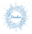 outline dresden germany city skyline with blue vector image vector image